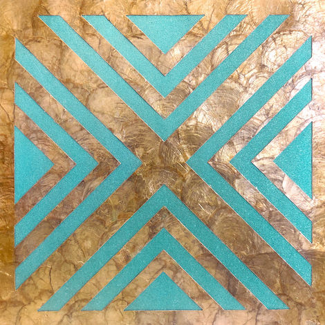 Shell wall covering WallFace LU06 CAPIZ decorative tile hand-crafted with real shells und glass beads mother-of-pearl look beige turquoise bronze 0.2 m2