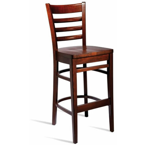 Shelly Solid Beech Kitchen Bar Stool Fixed Height Hardwood Seat - Fully Assembled Walnut