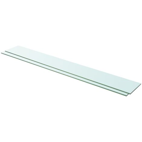 Shelves 2 pcs Panel Glass Clear 110x15 cm