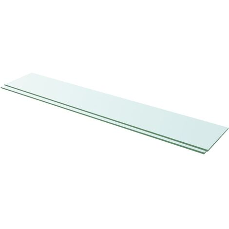 Shelves 2 pcs Panel Glass Clear 110x20 cm