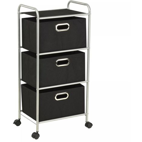 Shelving Unit with 3 Storage Boxes Steel and Non-woven Fabric