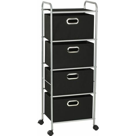 Shelving Unit with 4 Storage Boxes Steel and Non-woven Fabric - Black