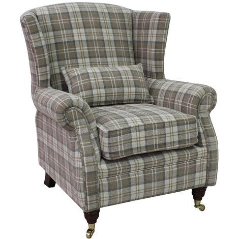 Sherlock Chair Fireside High Back Armchair Lana Beige Check Fabric