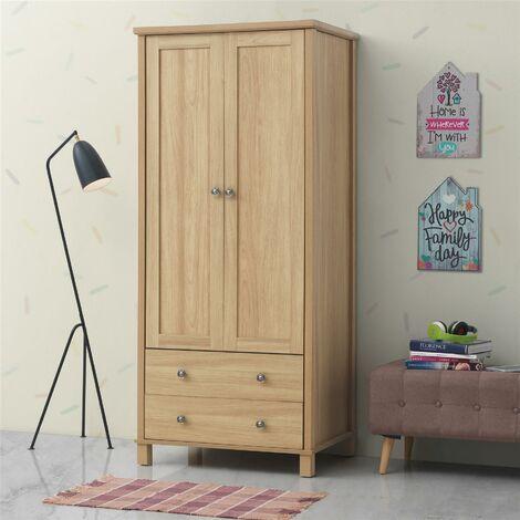 Sherwell 2 Door 2 Drawer Double Wardrobe Oak Bedroom Furniture