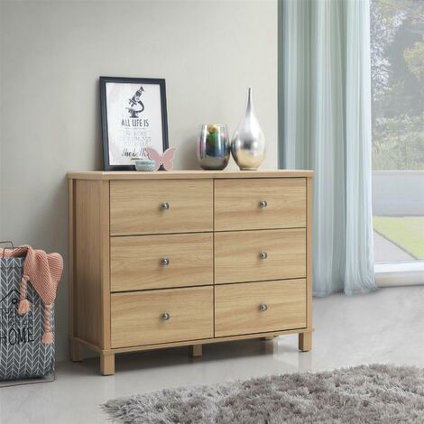 Sherwell Bedroom Chest of Drawers 6 Drawer Warm Oak