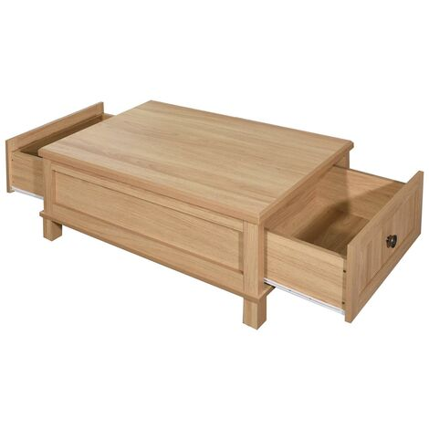 Sherwell Coffee Table with 2 Drawers Warm Oak