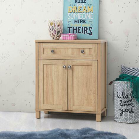 Sherwell Compact 2 Doors 1 Drawer Sideboard Storage Cabinet Cupboard Warm Oak