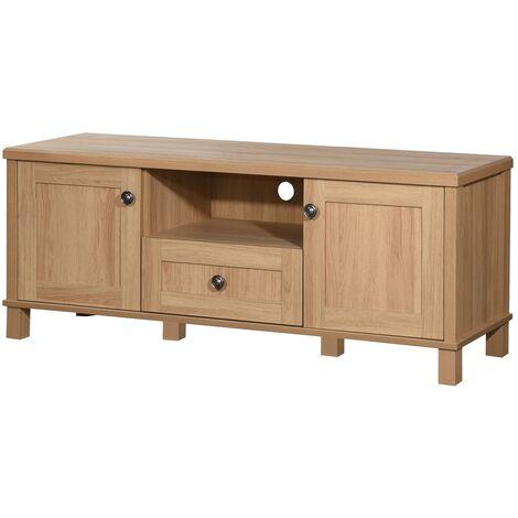 Sherwell TV Unit Stand Media Cabinet 2 Doors + Drawer & Shelf Oak
