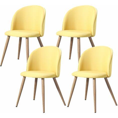 SHERYL - Lot de 2 chaises capitoné scandinave - Tissu - Bleu Ciel - pieds en bois massif design - 57 x 49 x 83 cm