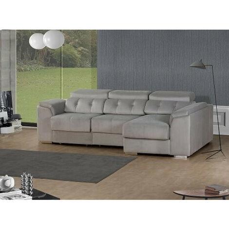 SHIITO- Sofá 3 plazas con chaiselongue derecha y arcón Modelo PORTO tapizado en tela color gris claro
