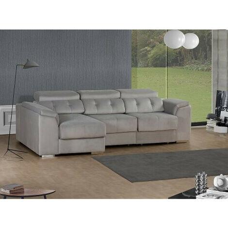 SHIITO- Sofá 3 plazas con chaiselongue izquierda y arcón Modelo PORTO tapizado en tela color gris claro
