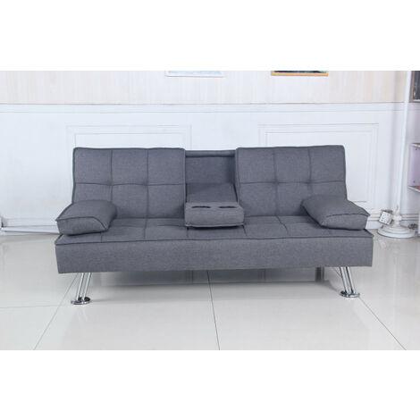 """main image of """"SHIITO- Sofá cama tres plazas 168x88x77 cm modelo OPORTO JH957 tapizado en tela color gris"""""""