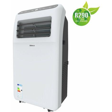 Shinco Aire Acondicionado Móvil 9,000 BTU ~75 m³ / 25 m² Aire Acondicionado Portátil 2,6 kW [Clase energética A]
