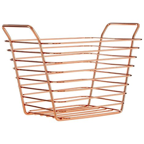 Shine Wire Basket, Iron, Rose Gold For Vegetable, Fruit