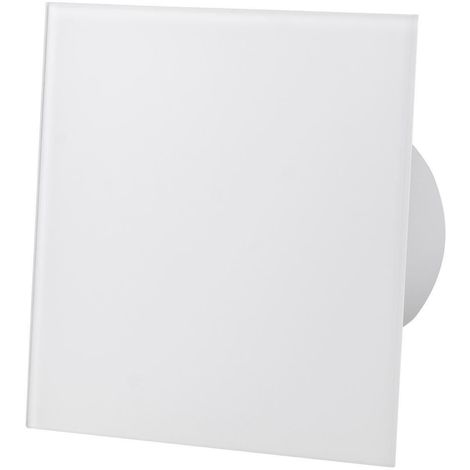 Shiny White Glass Front Panel 100mm Humidity Sensor Extractor Fan for Wall Ceiling Ventilation