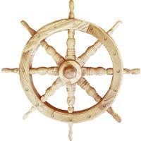 SHIPS WHEEL - Solid Wood 78cm Nautical Garden Ornament - Natural
