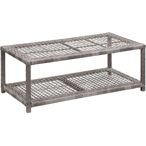 Shoe Bench Grey 80x40x30 cm Poly Rattan - Grey