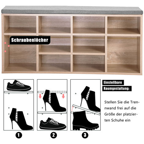 Shoe bench, shoe rack, shoe storage, bench, 10 compartments, with padding, for the entrance area, hallway, bedroom, 103.5 x 30 x 48 cm