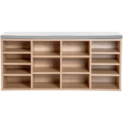 Shoe bench, shoe rack, shoe storage, bench, 14 compartments, with padding, for the entrance area, hallway, bedroom, 103.5 x 30 x 48 cm