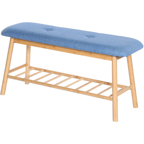 Shoe Bench with Padded Cushion Bench with Shoe Storage Shelf Hallway Entrance Blue