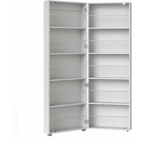Shoe Cabinet 1 Door w/ Mirror in White