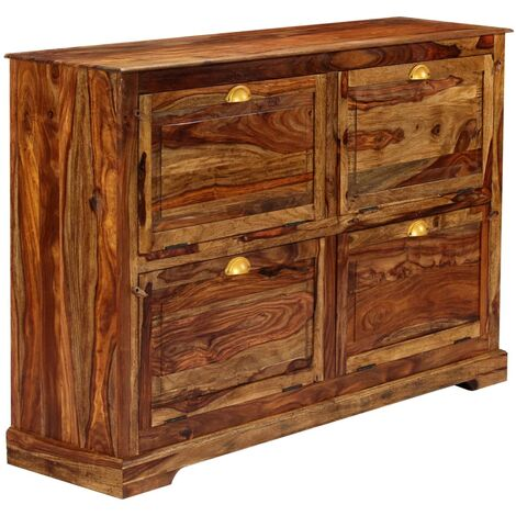 Shoe Cabinet 140x35x90 cm Solid Sheesham Wood