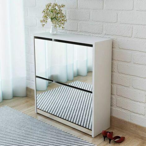 Shoe Cabinet 2-Layer Mirror White 63x17x67 cm