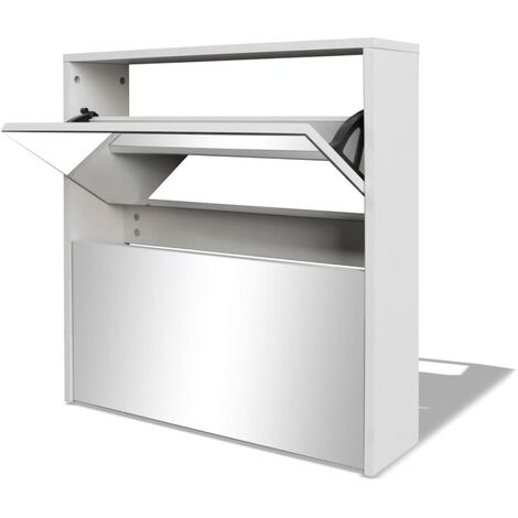 Shoe Cabinet 2-Layer Mirror White 63x17x67 cm