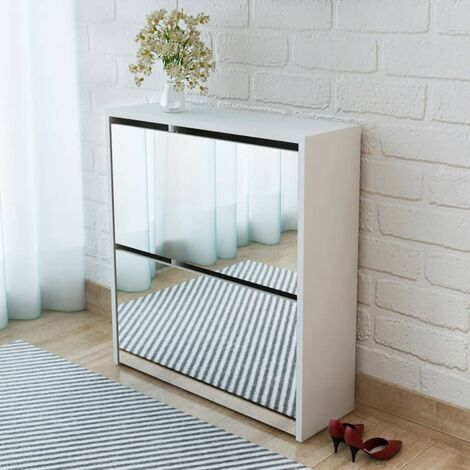 Shoe Cabinet 2-Layer Mirror White 63x17x67 cm - White