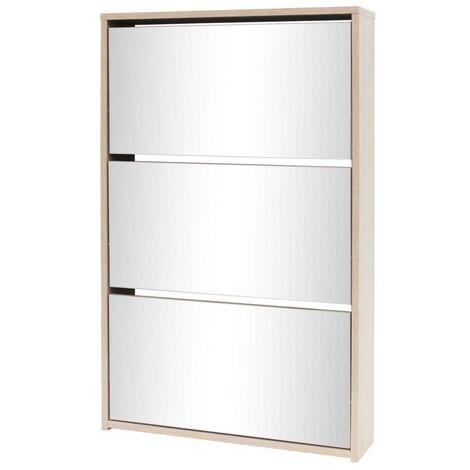 Shoe Cabinet 3-Layer Mirror Oak 63x17x102.5 cm