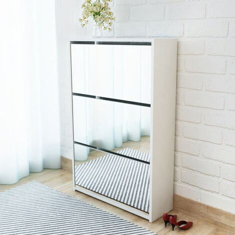 Shoe Cabinet 3-Layer Mirror White 63x17x102.5 cm - White
