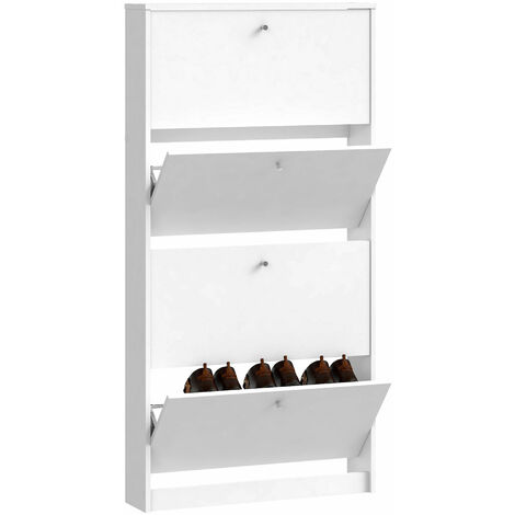 Shoe Cabinet 4 Compartments in White