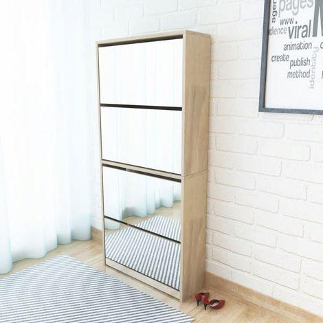 Shoe Cabinet 4-Layer Mirror Oak 63x17x134 cm
