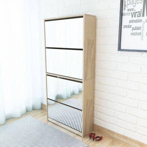 Shoe Cabinet 4-Layer Mirror Oak 63x17x134 cm - Brown