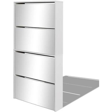 Shoe Cabinet 4-Layer Mirror White 63x17x134 cm