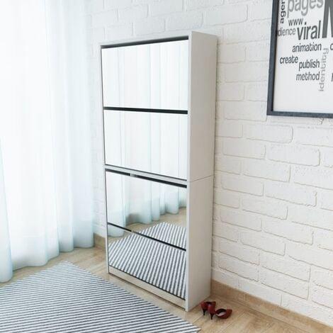 Shoe Cabinet 4-Layer Mirror White 63x17x134 cm - White