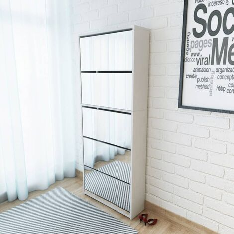 Shoe Cabinet 5-Layer Mirror White 63x17x169.5 cm