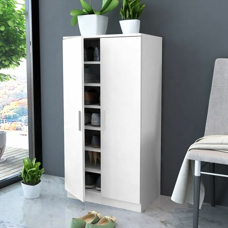 Shoe Cabinet 7 Shelves White