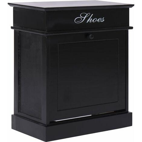 Shoe Cabinet Black 50x28x58 cm Paulownia Wood