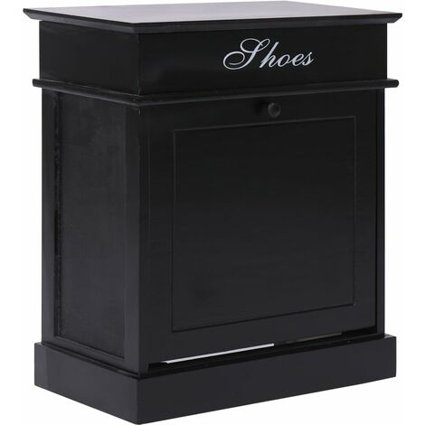 Shoe Cabinet Black 50x28x58 cm Paulownia Wood