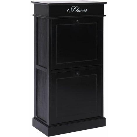 Shoe Cabinet Black 50x28x98 cm Paulownia Wood