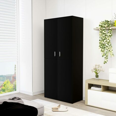Shoe Cabinet Black 80x39x178 cm Chipboard