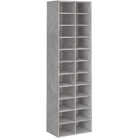 Shoe Cabinet Concrete Grey 54x34x183 cm Chipboard