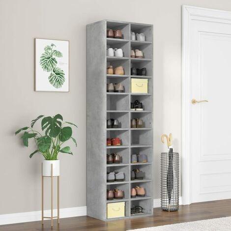 Shoe Cabinet Concrete Grey 54x34x183 cm Chipboard - Grey
