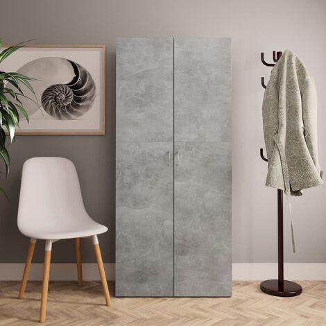 Shoe Cabinet Concrete Grey 80x35.5x180 cm Chipboard - Grey