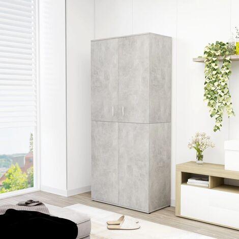 Shoe Cabinet Concrete Grey 80x39x178 cm Chipboard - Grey