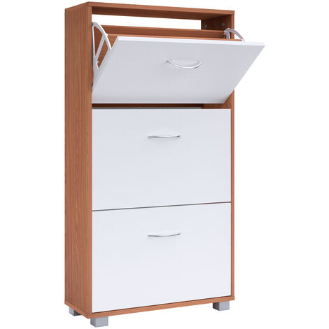 Shoe Cabinet DEUBA 3 Drawer Storage Cupboard Rack Stand Footwear White Black New