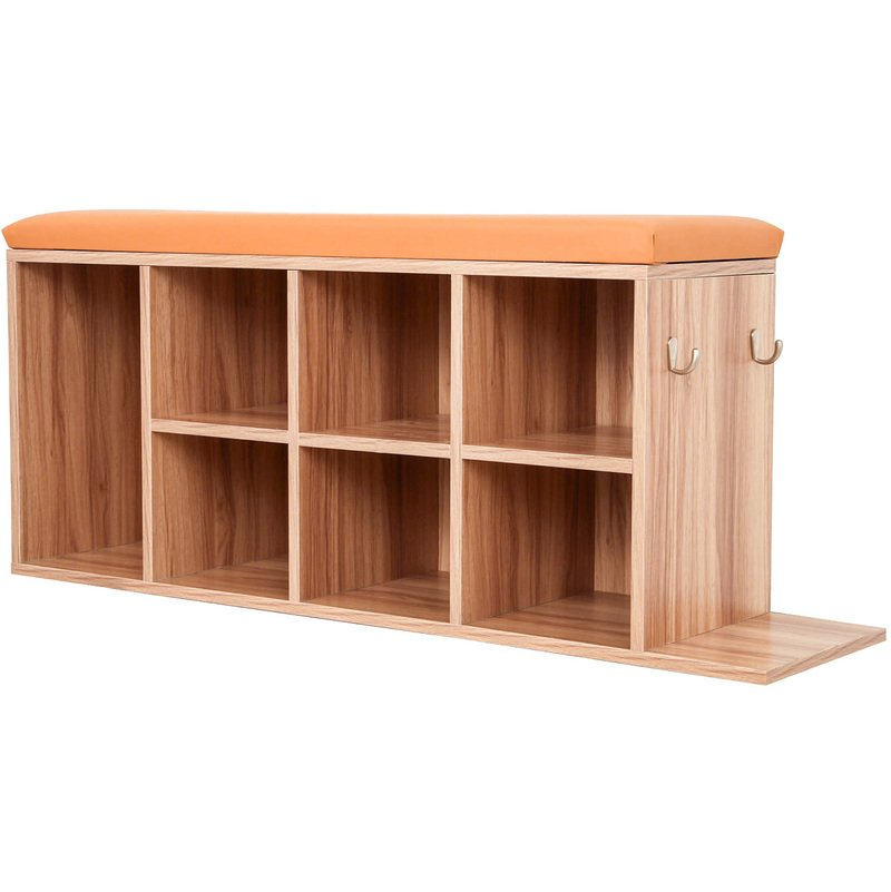Shoe Cabinet Footwear Storage Bench Stand Rack For Shoes And Boots With Padded Seat Oak