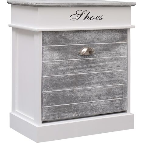 Shoe Cabinet Grey 50x28x58 cm Paulownia Wood