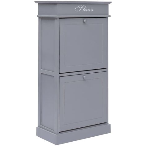 Shoe Cabinet Grey 50x28x98 cm Paulownia Wood